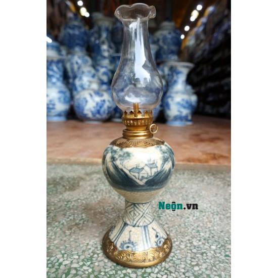 Đèn dầu thờ cúng chân váy bằng gốm Bát Tràng bọc đồng DD16