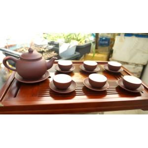 Bộ ấm trà tử sa viền đỏ AC13A