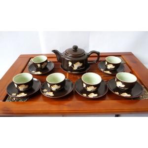 Bộ ấm trà gốm sứ Bát Tràng men nâu vẽ sen AC62