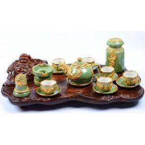 Bộ ấm chén uống trà cao cấp Bát Tràng mạ vàng 24k xanh ngọc AC55A