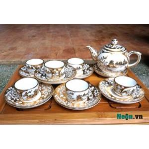 Bộ ấm trà gốm sứ Bát Tràng vẽ vàng cao cấp AC29