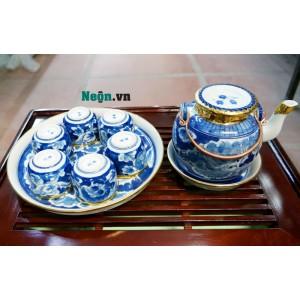 Bộ ấm trà gốm sứ Bát Tràng men lam cổ long ẩn AC52
