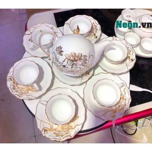 Bộ ấm trà cao cấp vẽ sen vàng kim 24k Bát Tràng quà tân gia AC55