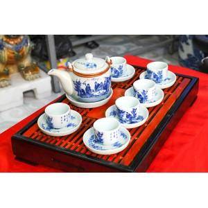Bộ ấm trà Bát Tràng giá rẻ trúc lâm thất hiền AC33