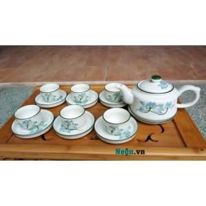 Bình trà Bát Tràng giá rẻ họa tiết hoa sen AC41