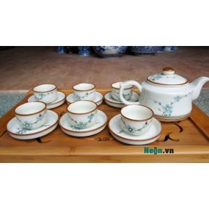 Ấm pha trà Bát Tràng giá rẻ họa tiết hoa đào AC42