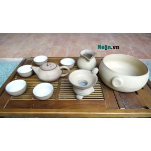 Bộ ấm chén uống trà cao cấp đất trắng AC44