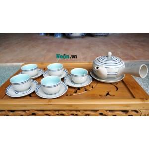 Bộ ấm chén uống trà giá rẻ Bát Tràng quai Nhật AC45