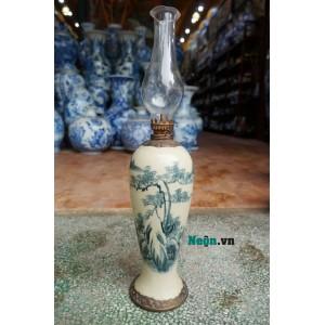 Đèn dầu thờ cúng dáng đui dễ men rạn giả cổ bọc đồng Bát Tràng DD18