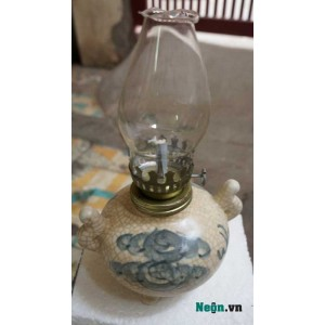 Đèn dầu thờ men rạn giả cổ mini DD15