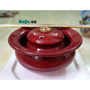 Điếu bát giá rẻ bằng gốm Bát Tràng màu đỏ đô DB34