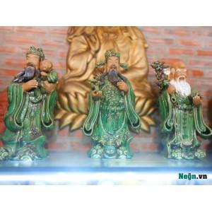 Tượng tam đa - Phúc Lộc Thọ men xanh ngọc T03